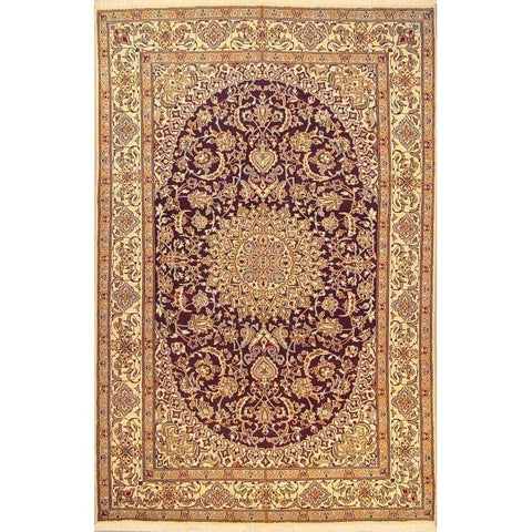 "Authentic Persian Rug nain Traditional Style Hand-Knotted Indoor Area Rug with Natural Wool and Cotton  10'0""  X  6'6"" ABCR02841"