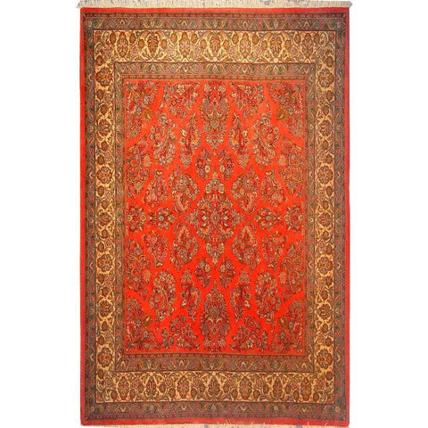 "Authentic Persian Rug sarough Traditional Style Hand-Knotted Indoor Area Rug with Natural Wool and Cotton  7'1""  X  6'10"" ABCR02873"