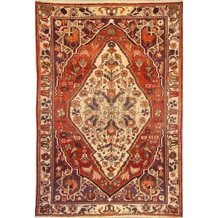 "Authentic Persian Rug bakhtiar Traditional Style Hand-Knotted Indoor Area Rug with Natural Wool and Cotton  10'2""  X  6'7"" ABCR02776"