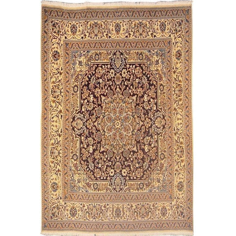 "Authentic Persian Rug nain Traditional Style Hand-Knotted Indoor Area Rug with Natural Wool and Cotton  6'6""  X  6'5"" ABCR02838"