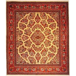 "Authentic Persian Rug sarough Traditional Style Hand-Knotted Indoor Area Rug with Natural Wool and Cotton  7'11""  X  6'8"" ABCR02874"