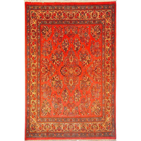 "Authentic Persian Rug sarough Traditional Style Hand-Knotted Indoor Area Rug with Natural Wool and Cotton  7'0""  X  7'11"" ABCR02872"