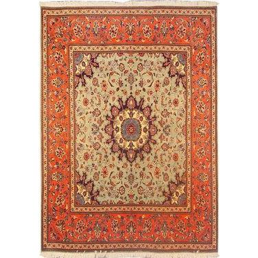 "Authentic Persian Rug yazd Traditional Style Hand-Knotted Indoor Area Rug with Natural Wool and Cotton  6'5""  X  6'4"" ABCR02894"