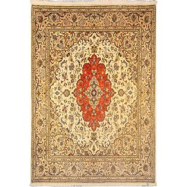 "Authentic Persian Rug yazd Traditional Style Hand-Knotted Indoor Area Rug with Natural Wool and Cotton  6'8""  X  6'7"" ABCR02896"