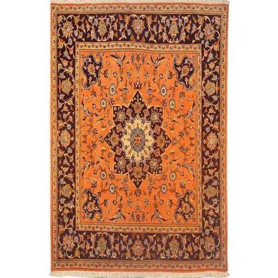 "Authentic Persian Rug yazd Traditional Style Hand-Knotted Indoor Area Rug with Natural Wool and Cotton  6'6""  X  6'5"" ABCR02786"