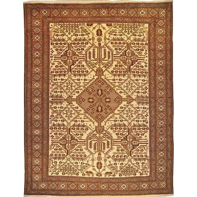 "Authentic Persian Rug mashad Traditional Style Hand-Knotted Indoor Area Rug with Natural Wool and Cotton  10'10""  X  8'3"" ABCR02767"