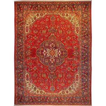 "Authentic Persian Rug tabriz Traditional Style Hand-Knotted Indoor Area Rug with Natural Wool and Cotton  10'11""  X  8'0"" ABCR02151"