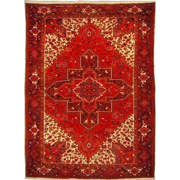 "Authentic Persian Rug heriz Traditional Style Hand-Knotted Indoor Area Rug with Natural Wool and Cotton  11' 0""  X  7' 11"" ABCR02587"