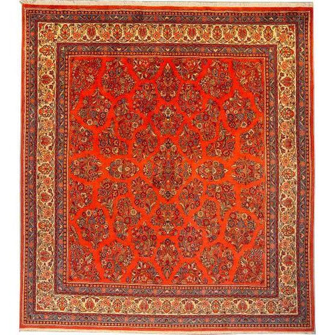 "Authentic Persian Rug sarough Traditional Style Hand-Knotted Indoor Area Rug with Natural Wool and Cotton  9'4""  X  8'6"" ABCR02878"