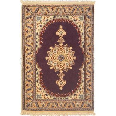 "Authentic Persian Rug nain Traditional Style Hand-Knotted Indoor Area Rug with Natural Wool and Cotton  2'9""  X  1'10"" ABCR02820"