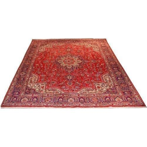 "Authentic Persian Rug tabriz Traditional Style Hand-Knotted Indoor Area Rug with Natural Wool and Cotton  13'4""  X  9'8"" ABCR02201"