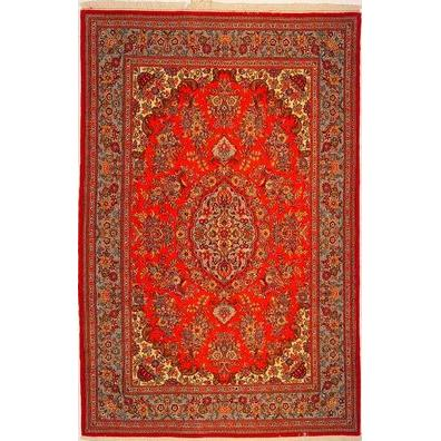 "Authentic Persian Rug qom Traditional Style Hand-Knotted Indoor Area Rug with Natural Wool and Cotton  6'10""  X  4'5"" ABCR02493"