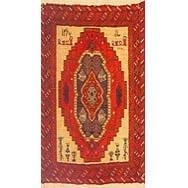 "Authentic Persian Rug turkaman Traditional Style Hand-Knotted Indoor Area Rug with Natural Wool and Cotton  2'10""  X  1'6"" ABCR02947"