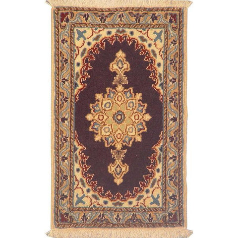 "Authentic Persian Rug nain Traditional Style Hand-Knotted Indoor Area Rug with Natural Wool and Cotton  2'0""  X  1'2"" ABCR02816"