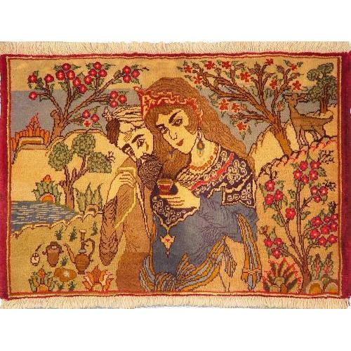 "Authentic Persian Rug tabriz Traditional Style Hand-Knotted Indoor Area Rug with Natural Wool and Cotton  2'7""  X  1'9"" ABCR02209"