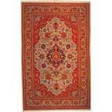 "Authentic Persian Rug qom Traditional Style Hand-Knotted Indoor Area Rug with Natural Wool and Cotton  7'3""  X  4'9"" ABCR02758"
