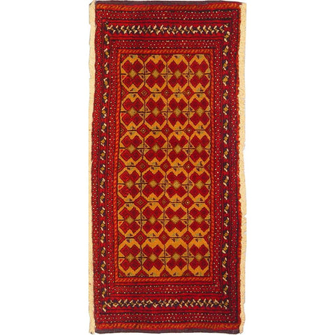 "Authentic Persian Rug turkaman Traditional Style Hand-Knotted Indoor Area Rug with Natural Wool and Cotton  3'9""  X  1'4"" ABCR02943"