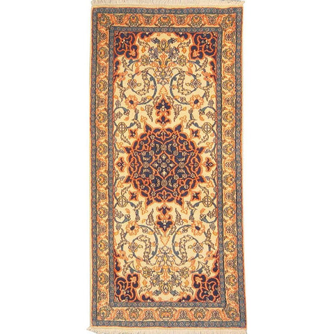 "Authentic Persian Rug nain Traditional Style Hand-Knotted Indoor Area Rug with Natural Wool and Cotton  4'5""  X  2'2"" ABCR02862"