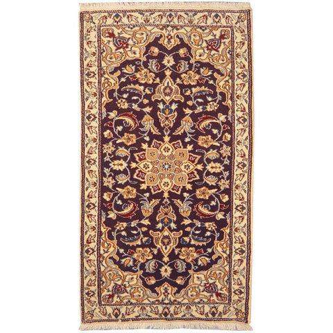 "Authentic Persian Rug nain Traditional Style Hand-Knotted Indoor Area Rug with Natural Wool and Cotton  3'10""  X  1'11"" ABCR02827"