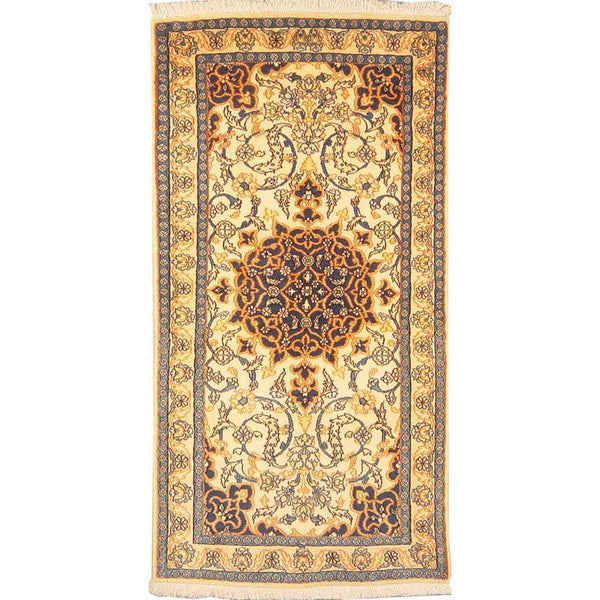 "Authentic Persian Rug nain Traditional Style Hand-Knotted Indoor Area Rug with Natural Wool and Cotton  4'5""  X  2'3"" ABCR02859"