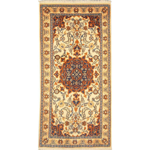 "Authentic Persian Rug nain Traditional Style Hand-Knotted Indoor Area Rug with Natural Wool and Cotton  4'5""  X  2'2"" ABCR02865"