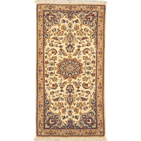 "Authentic Persian Rug nain Traditional Style Hand-Knotted Indoor Area Rug with Natural Wool and Cotton  4'1""  X  2'1"" ABCR02822"