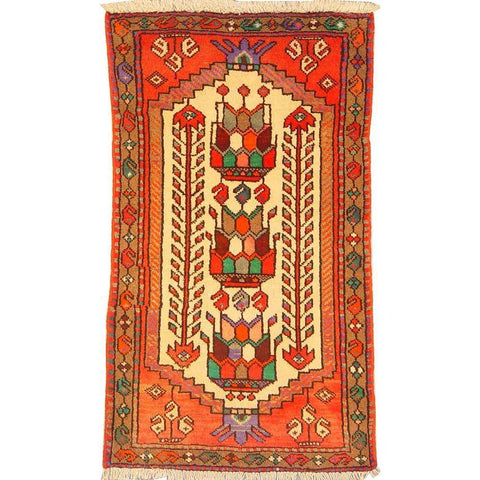 "Authentic Persian Rug bakhtiar Traditional Style Hand-Knotted Indoor Area Rug with Natural Wool and Cotton  3'11""  X  2'3"" ABCR02821"