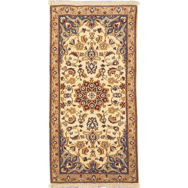 "Authentic Persian Rug nain Traditional Style Hand-Knotted Indoor Area Rug with Natural Wool and Cotton  4'1""  X  1'11"" ABCR02823"