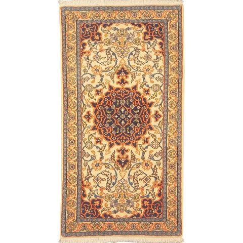 "Authentic Persian Rug nain Traditional Style Hand-Knotted Indoor Area Rug with Natural Wool and Cotton   4'2""  X  2'2"" ABCR02864"