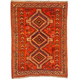 "Authentic Persian Rug shiraz Traditional Style Hand-Knotted Indoor Area Rug with Natural Wool and Cotton  4'8""  X  3'4"" ABCR02373"