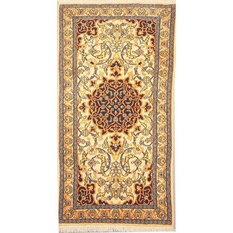 "Authentic Persian Rug nain Traditional Style Hand-Knotted Indoor Area Rug with Natural Wool and Cotton  4'3""  X  2'3"" ABCR02863"