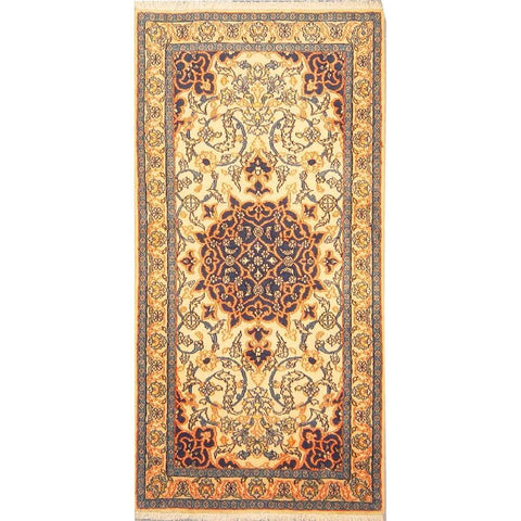 "Authentic Persian Rug nain Traditional Style Hand-Knotted Indoor Area Rug with Natural Wool and Cotton  4'6""  X  2'2"" ABCR02867"