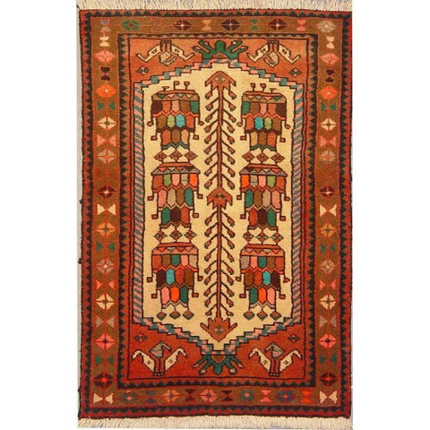 "Authentic Persian Rug bakhtiar Traditional Style Hand-Knotted Indoor Area Rug with Natural Wool and Cotton  3'9""  X  2'5"" ABCR02824"
