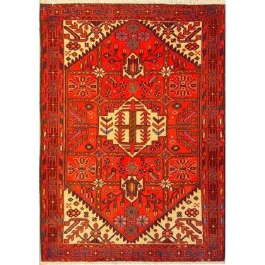 "Authentic Persian Rug saveh Traditional Style Hand-Knotted Indoor Area Rug with Natural Wool and Cotton  4'11""  X  3'7"" ABCR02536"