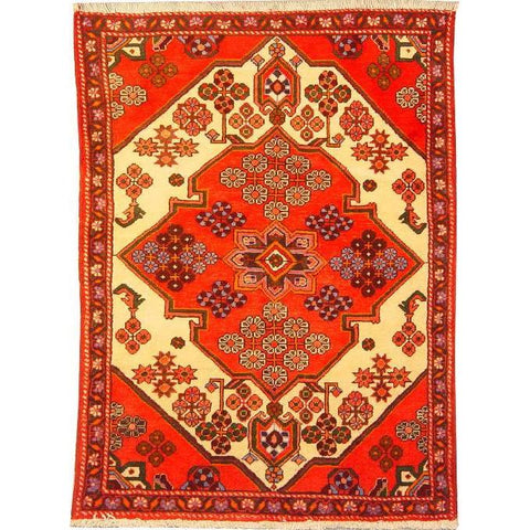"Authentic Persian Rug saveh Traditional Style Hand-Knotted Indoor Area Rug with Natural Wool and Cotton  4'7""  X  3'3"" ABCR02835"