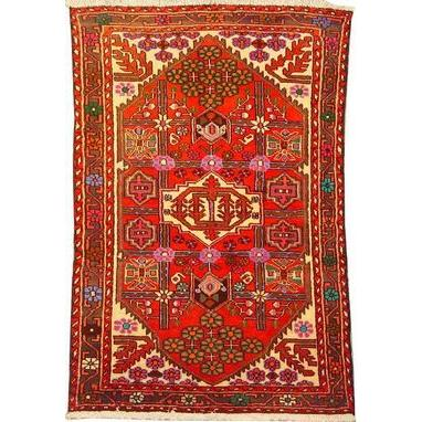 "Authentic Persian Rug saveh Traditional Style Hand-Knotted Indoor Area Rug with Natural Wool and Cotton  4'11""  X  3'5"" ABCR02264"