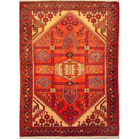 "Authentic Persian Rug saveh Traditional Style Hand-Knotted Indoor Area Rug with Natural Wool and Cotton  4'11""  X  3'1"" ABCR02812"