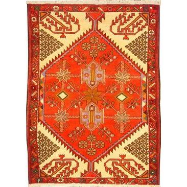 "Authentic Persian Rug saveh Traditional Style Hand-Knotted Indoor Area Rug with Natural Wool and Cotton  4'11""  X  3'5"" ABCR02552"