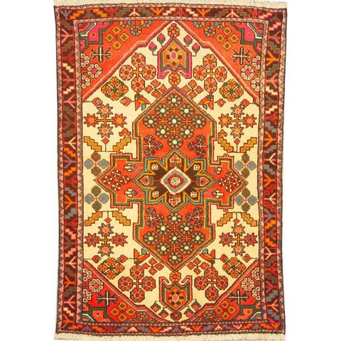 "Authentic Persian Rug saveh Traditional Style Hand-Knotted Indoor Area Rug with Natural Wool and Cotton  4'9""  X  3'3"" ABCR02829"