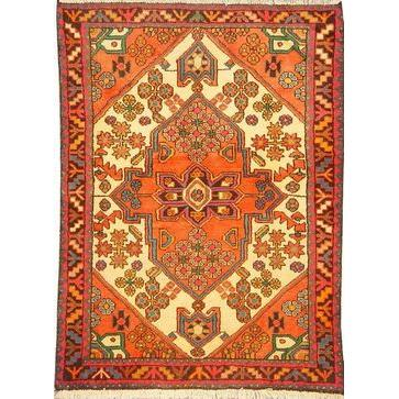 "Authentic Persian Rug saveh Traditional Style Hand-Knotted Indoor Area Rug with Natural Wool and Cotton  4'9""  X  3'5"" ABCR02549"