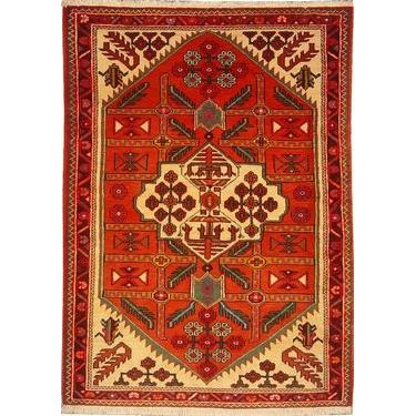 "Authentic Persian Rug saveh Traditional Style Hand-Knotted Indoor Area Rug with Natural Wool and Cotton  4'11""  X  3'7"" ABCR02566"