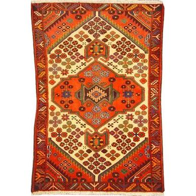 "Authentic Persian Rug saveh Traditional Style Hand-Knotted Indoor Area Rug with Natural Wool and Cotton  4'11""  X  3'3"" ABCR02316"