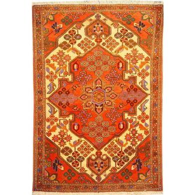 "Authentic Persian Rug saveh Traditional Style Hand-Knotted Indoor Area Rug with Natural Wool and Cotton  5'2""  X  3'5"" ABCR02400"