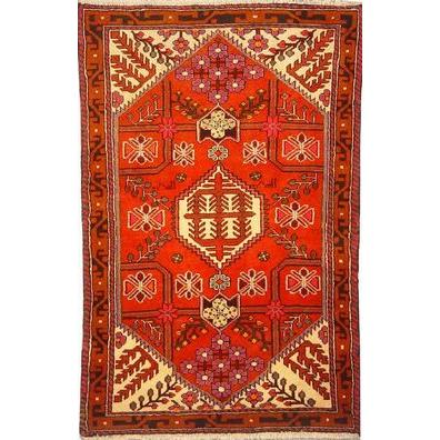 "Authentic Persian Rug saveh Traditional Style Hand-Knotted Indoor Area Rug with Natural Wool and Cotton  5'1""  X  3'5"" ABCR02562"