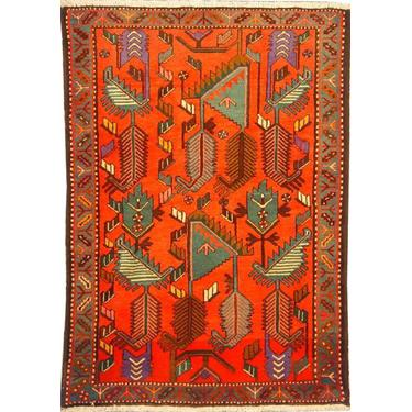 "Authentic Persian Rug saveh Traditional Style Hand-Knotted Indoor Area Rug with Natural Wool and Cotton  4'11""  X  3'3"" ABCR02177"