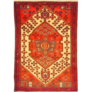"Authentic Persian Rug saveh Traditional Style Hand-Knotted Indoor Area Rug with Natural Wool and Cotton  4'11""  X  3'5"" ABCR02206"