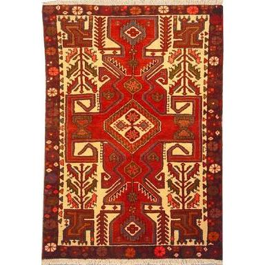 "Authentic Persian Rug saveh Traditional Style Hand-Knotted Indoor Area Rug with Natural Wool and Cotton  4'9""  X  3'1"" ABCR02403"