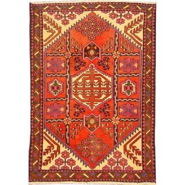"Authentic Persian Rug saveh Traditional Style Hand-Knotted Indoor Area Rug with Natural Wool and Cotton  4'11""  X  3'3"" ABCR02535"
