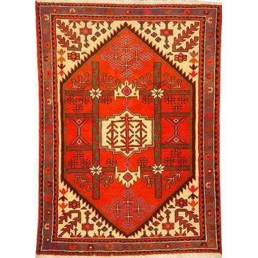 "Authentic Persian Rug saveh Traditional Style Hand-Knotted Indoor Area Rug with Natural Wool and Cotton  4'11""  X  3'5"" ABCR02320"