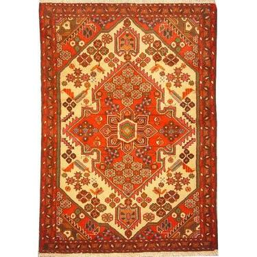 "Authentic Persian Rug saveh Traditional Style Hand-Knotted Indoor Area Rug with Natural Wool and Cotton  4'11""  X  3'5"" ABCR02388"